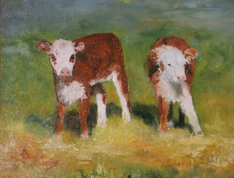 tow white faced calves